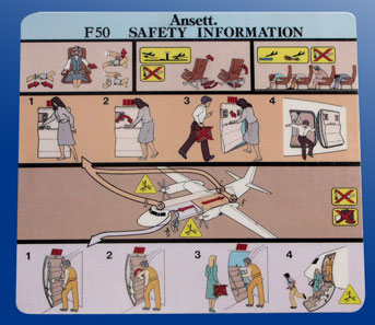 SAFETY CARD - FOKKER F50